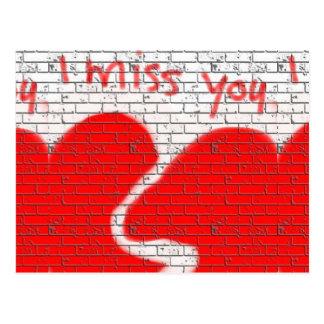 Mim senhorita Você, vermelho do coração quebrado Cartão Postal