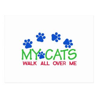 Minha caminhada de gatos cartão postal