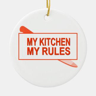 Minha cozinha. Minhas regras. Design do Ornamento De Cerâmica Redondo