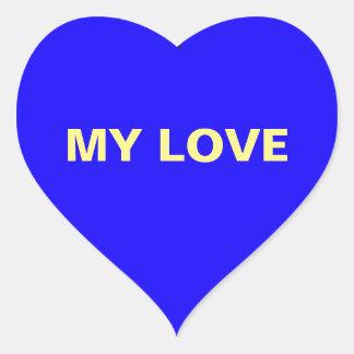 Minha etiqueta azul escuro do coração do amor adesivo coração