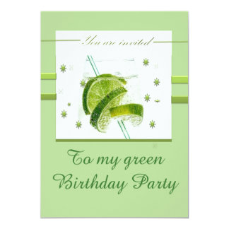 Minha festa de aniversário verde convite 12.7 x 17.78cm