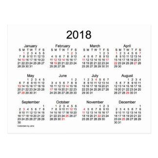 Mini calendário de 2018 feriados por Janz Cartão Postal