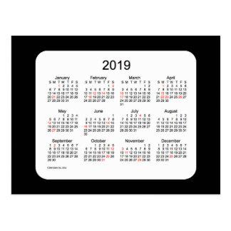 Mini calendário preto do feriado 2019 por Janz Cartão Postal