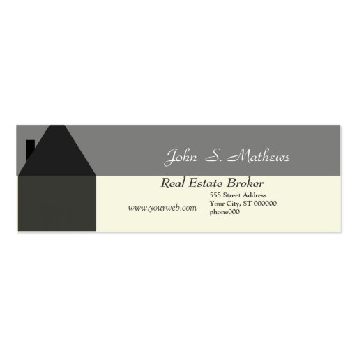 Mini-Cartão do corretor de imóveis Cartão De Visita Skinny