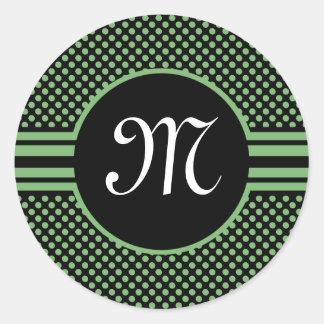 Mini etiquetas da inicial do monograma do preto do adesivo