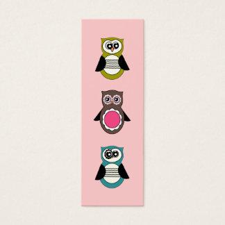 Mini marcador das corujas retros cartão de visitas mini