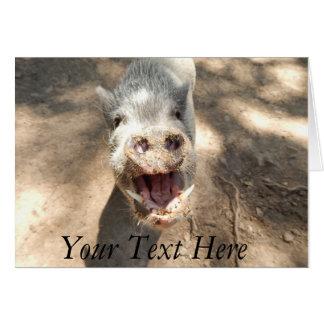 Mini porco de sorriso personalizado cartão comemorativo