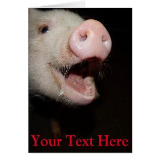 Mini porco personalizado do canto cartão comemorativo