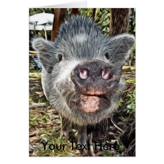 Mini porco pintado personalizado bonito cartão comemorativo