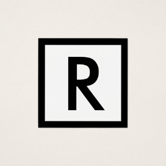 Minimalista elegante inicial corajoso do monograma cartão de visitas quadrado