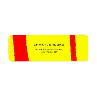 Minimalista liso moderno elegante vermelho amarelo etiqueta endereço de retorno