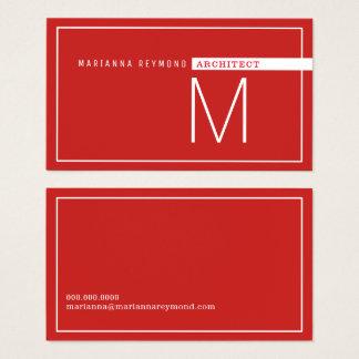 minimalista & moderno, vermelho do arquiteto cartão de visitas