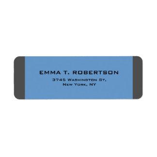 Minimalista na moda moderno elegante do cinza azul etiqueta endereço de retorno
