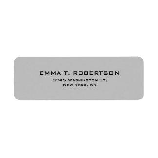 Minimalista na moda moderno elegante do cinza de etiqueta endereço de retorno