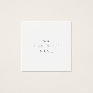 Minimaliste profissional Élégante Noir e Blanc Cartão De Visitas Quadrado