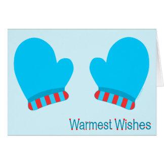 Mitenes azuis do feriado (os desejos os mais cartão