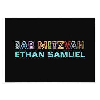 Mitzvah de néon do bar de PixDezines Convite 12.7 X 17.78cm