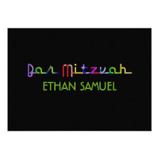 Mitzvah do bar de luzes de néon de PixDezines Convites