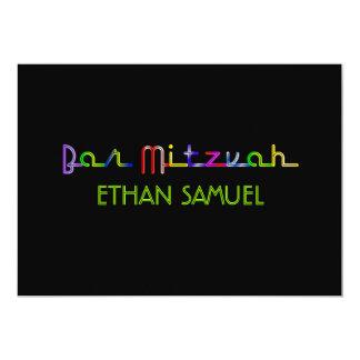 Mitzvah do bar de luzes de néon de PixDezines Convite 12.7 X 17.78cm
