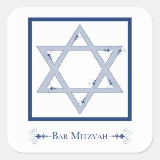 mitzvah do bar (elegância da estrela de David) Adesivo Quadrado