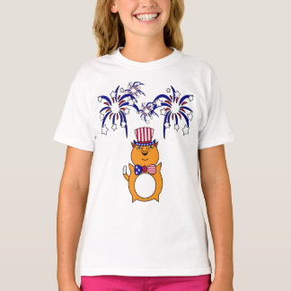 Miúdo 4o da camisa feliz do gato de julho