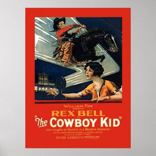 Miúdo do vaqueiro de Rex Bell da propaganda do fil Posters