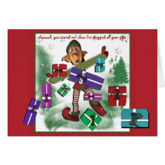 Miúdos bonitos do feriado do Natal do duende Cartão Comemorativo