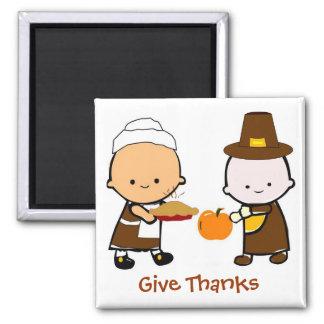 Miúdos do feriado do outono da acção de graças ímã quadrado