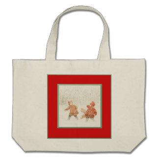 Miúdos no saco do feriado da neve bolsa para compras