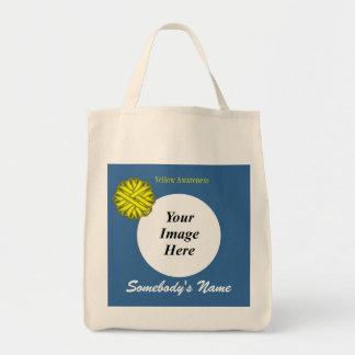 Modelo amarelo da fita da flor bolsa tote