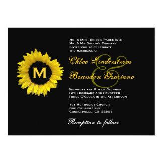 Modelo amarelo e preto brilhante do casamento do convite 13.97 x 19.05cm