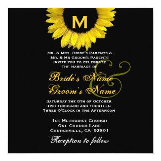 Modelo amarelo e preto brilhante do casamento do convite quadrado 13.35 x 13.35cm