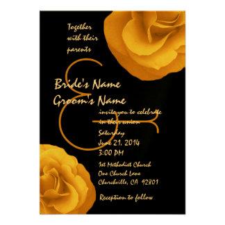 Modelo branco preto amarelo dos rosas do casamento convites personalizados