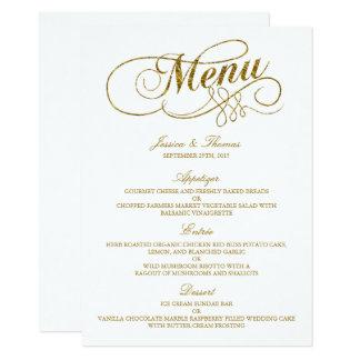 Modelo chique do menu do casamento da folha de convite 11.30 x 15.87cm
