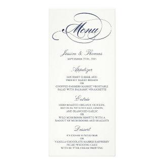 Modelo chique do menu do casamento do marinho & do 10.16 x 22.86cm panfleto