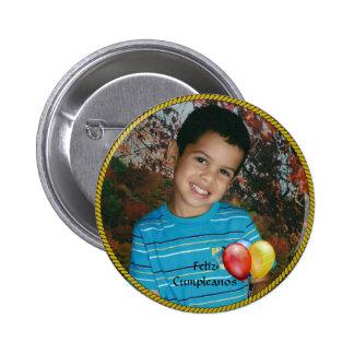 Modelo da foto do círculo de Feliz Cumpleanos Bóton Redondo 5.08cm