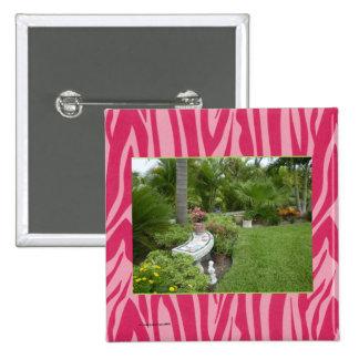 MODELO da FOTO no impressão da zebra do rosa verme Bóton Quadrado 5.08cm