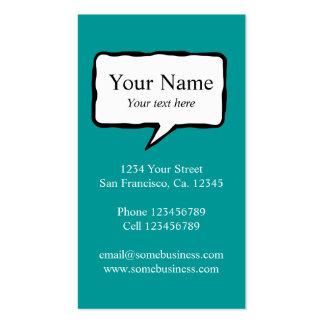 Modelo de cartão de negócios da bolha do discurso modelos cartão de visita