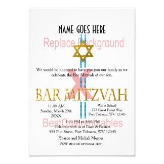 Modelo de Mitzvah do bar Convite 12.7 X 17.78cm