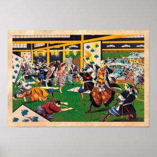 Modelo de pintura histórico clássico de Japão Bush Poster