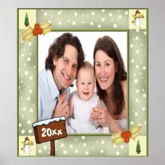 Modelo do azevinho do Natal & da foto dos bonecos  Poster