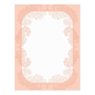 Modelo elegante romântico do convite do pêssego cartão postal