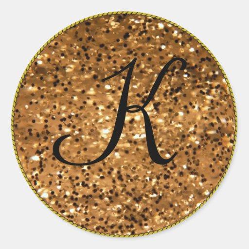 Modelo inicial do ouro do monograma adesivos em formato redondos