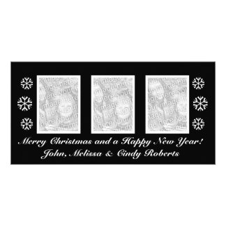 Modelo preto | dos cartões de foto de Natal três Cartão Com Foto