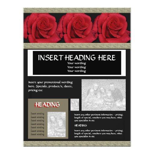 Modelos dos folhetos dos insectos - rosas vermelha panfleto personalizados