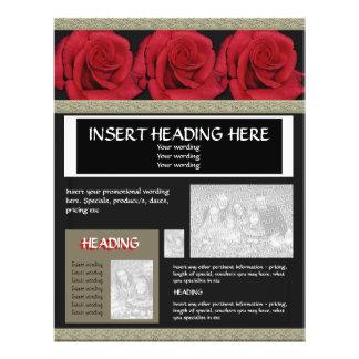 Modelos dos folhetos dos insectos - rosas vermelha flyer 21.59 x 27.94cm