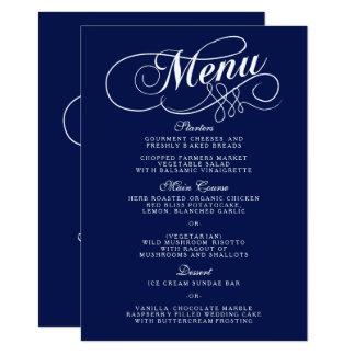 Modelos elegantes do menu do casamento dos azuis convite 11.30 x 15.87cm