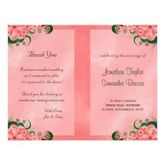 Modelos florais cor-de-rosa do programa do flyer 21.59 x 27.94cm