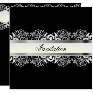 Modelos pretos & de prata elegantes do partido convite quadrado 13.35 x 13.35cm