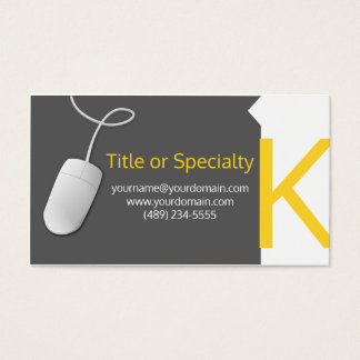Modern gray and yellow design cartão de visitas